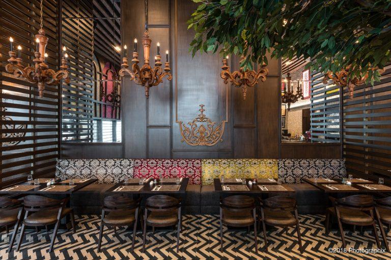 Interior design of a restaurant